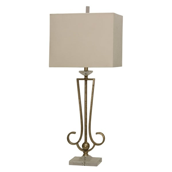 Manisa Antique Gold Table Lamp - Beige Hardback Fabric Shade