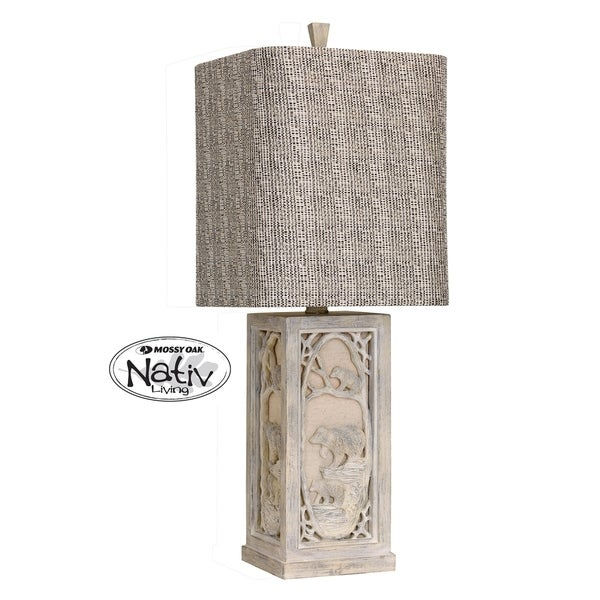 StyleCraft Mashepine White Table Lamp - Taupe Hardback Fabric Shade