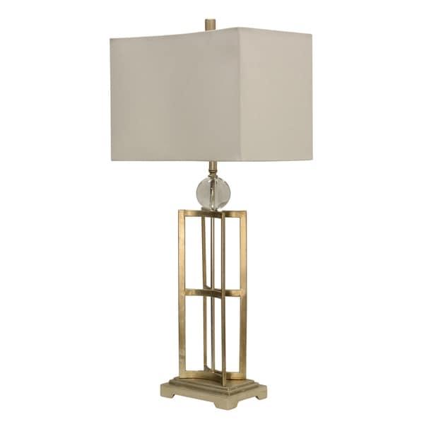 Jane Seymour Silver Leaf Table Lamp - White Hardback Fabric Shade