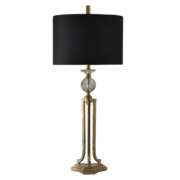 Vintage Gold Table Lamp - Black Hardback Fabric Shade