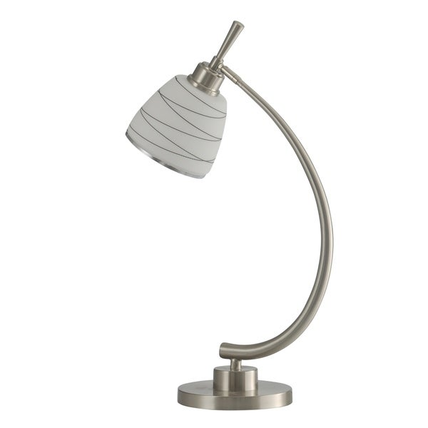 StyleCraft Orillia Contemporary Brushed Steel Table Lamp - Frosted Glass Shade