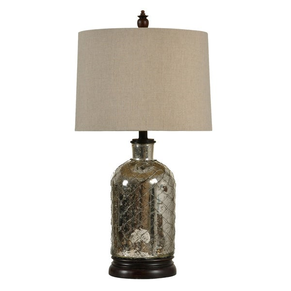Antique Silver Plated Table Lamp - Beige Hardback Fabric Shade