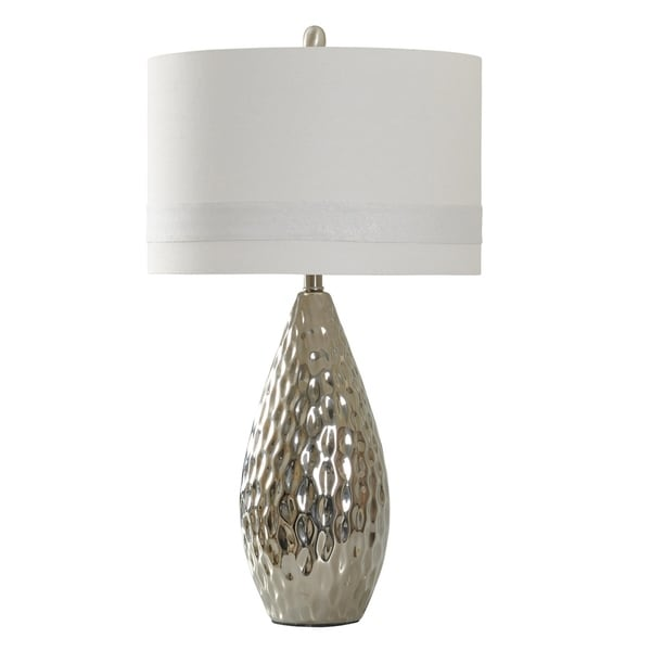 StyleCraft Ceramic Silver Table Lamp - White Hardback Fabric Shade