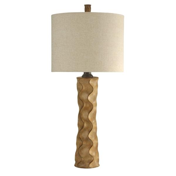StyleCraft William Magnum Kinston Brown Table Lamp - White Hardback Fabric Shade