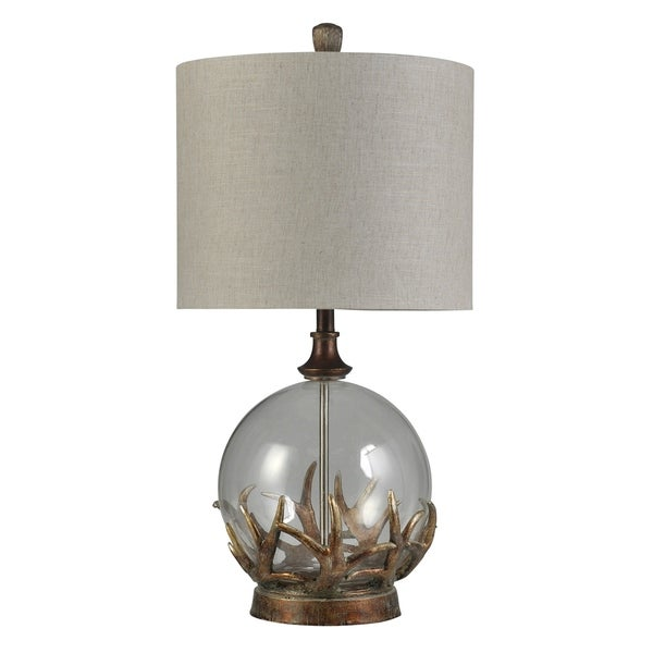 Mossy Oak Bronze Oak w/ Clear Glass Body Table Lamp - Taupe Hardback Shade