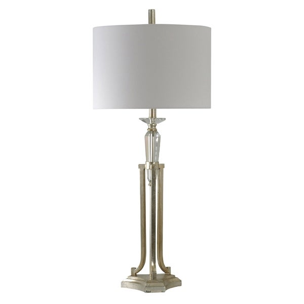 Champagne Silver Steel Table Lamp - White Hardback Fabric Shade