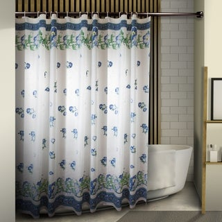 "InStyleDesign Floral Shower Curtain 71"" x 71"" - Blue Floral"