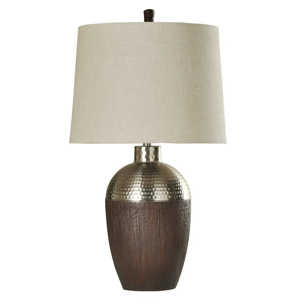 Harbin Stained Wood and Shiny Chrome Table Lamp - White Hardback Fabric Shade