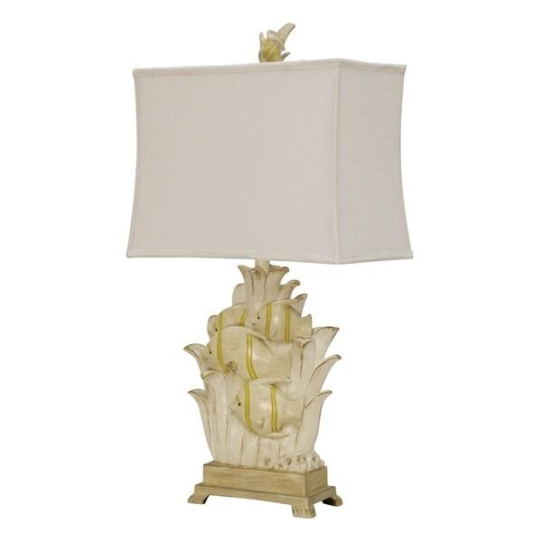 Arnica Bay Antique White Table Lamp - White Softback Fabric Shade