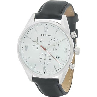 Bering Men's 10542-404 'Classic' Chronograph Black Leather Watch - silver - N/A