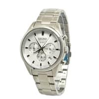 Seiko Men's SSB221 Chronograph Stainless Steel Watch - silver