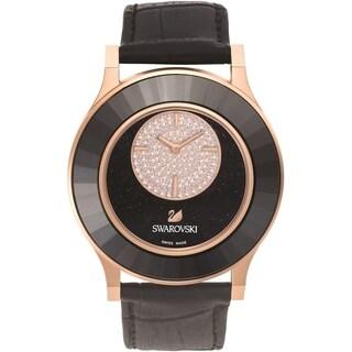 Swarovski elements Women's 5095484 'Octea Classica' Crystal Black Leather Watch