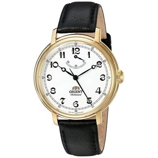 Orient Men's FDD03001W0 'Monarch' Mechanical Black Leather Watch - silver