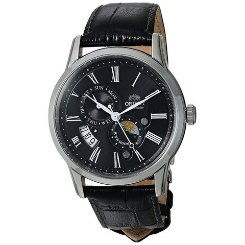 Orient Men's 'Sun and Moon Version 3' Moonphase Automatic Black Leather Watch