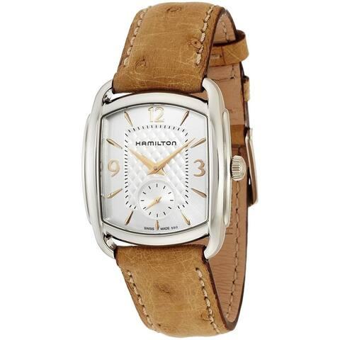 Hamilton Unisex 'Bagley' Brown Leather Watch - silver