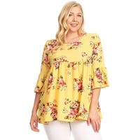 Women's Plus Size Floral Pattern Babydoll Style Tunic Top