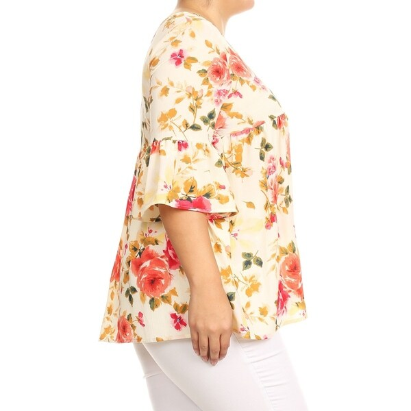 Ivory Floral Babydoll Off Shoulder Top Short Sleeve Blouse Womens Plus 1X 2X 3X