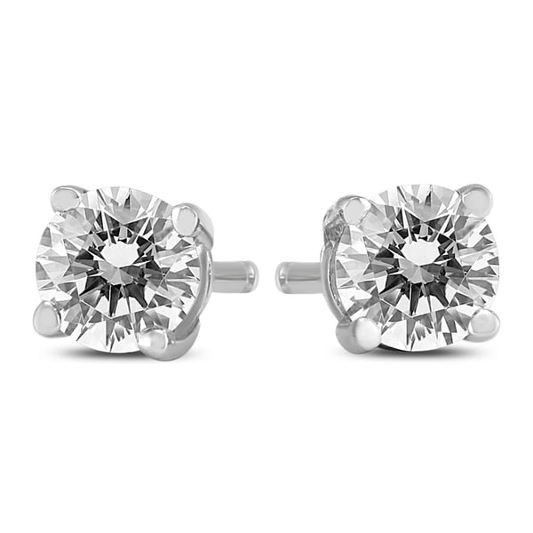 8d916ddb6 Shop 1/2 Carat TW Round Diamond Solitaire Stud Earrings In 14k White Gold -  On Sale - Free Shipping Today - Overstock - 20954142