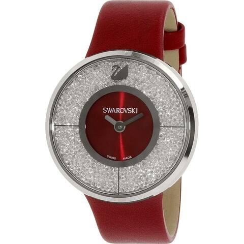 Swarovski Women's 1144170 'Crystalline' Crystal Red Leather Watch