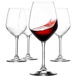 Italian Red Wine Glasses - 18 Ounce - Lead Free - Wine Glass Set of 4, Clear