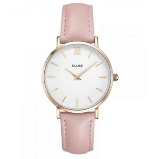 Cluse Women's CL30001 'Minuit' Pink Leather Watch - WHITE