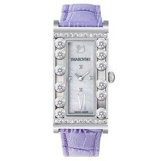 Swarovski elements Women's 'Lovely' Crystal Purple Leather Watch - Mother of Pearl