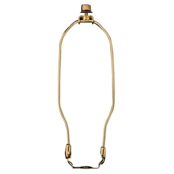 "Royal Designs 12"" Heavy Duty Lamp Harp Finial and Lamp Harp Holder Set Polished Brass Single"