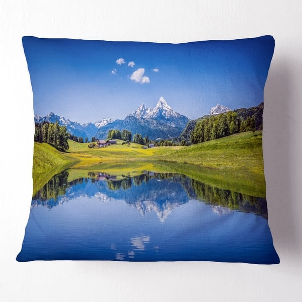 Designart Summer With Clear Mountain Lake Landscape Printed Throw Pillow Overstock 20954348