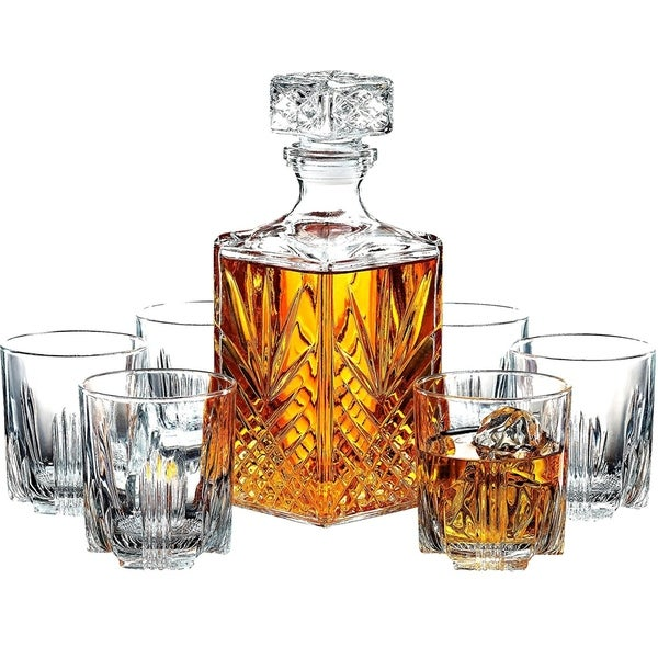 7-Piece Italian Crafted Glass Decanter & Whisky Glasses Set, Elegant Decanter with Ornate Stopper and 6 Exquisite Glasses