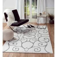 "Lorena Collection Saruk Design White Shaggy Jute Area Rug - 3'7"" x 5'2"""