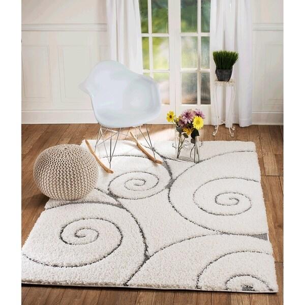 Shop Lorena Collection Swirl Design White Jute Shaggy Area