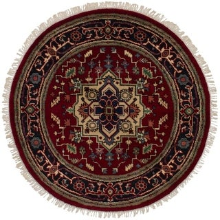 eCarpetGallery Hand-knotted Serapi Heritage Dark Red Wool Rug (4'0 x 4'0) - 4'0 x 4'0