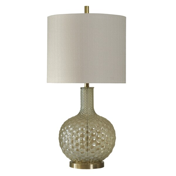 StyleCraft Middleberry Clear Glass and Gold Table Lamp - White Hardback Fabric Shade