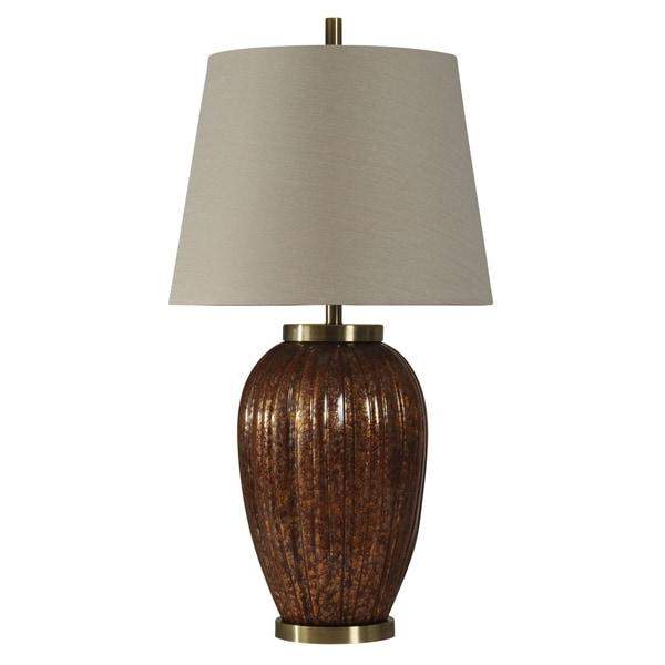 Glouster Dark Brown and Brass Table Lamp - White Hardback Fabric Shade