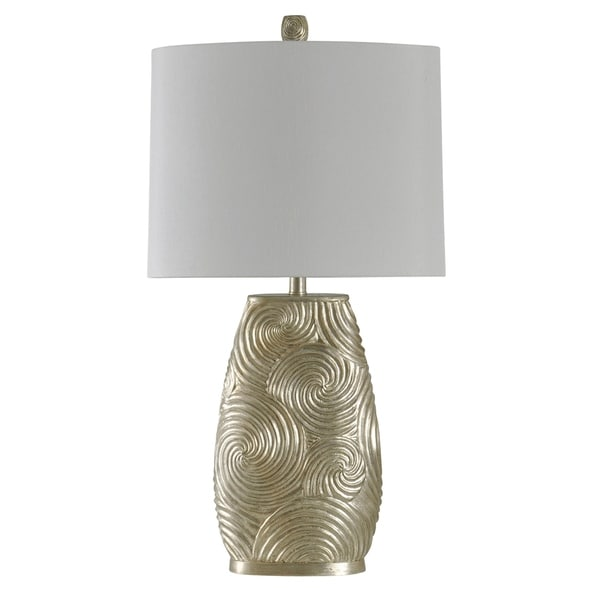 StyleCraft Champagne Silver Design Table Lamp - White Hardback Fabric Shade