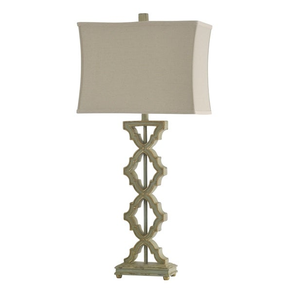 Saray Sage Table Lamp - Beige Softback Fabric Shade