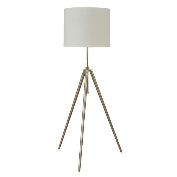 Brushed Steel Floor Lamp - White Round Hardback Fabric Shade