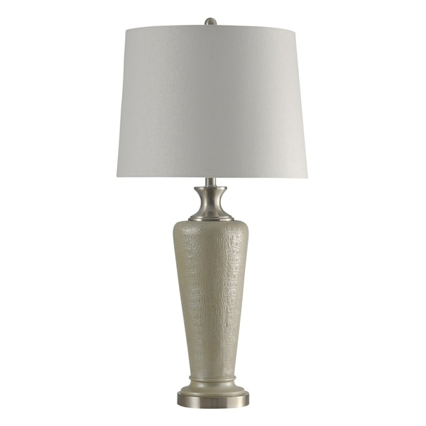 StyleCraft Beige and Steel Table Lamp - White Hardback Fabric Shade