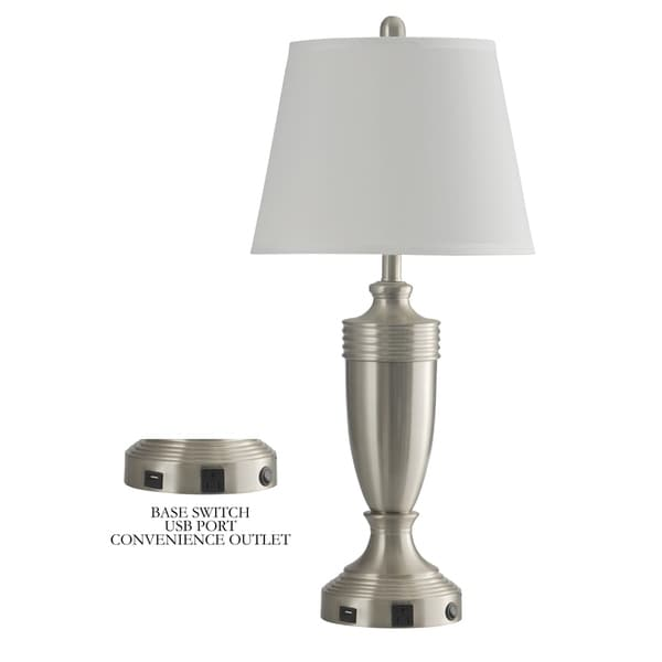StyleCraft Brushed Steel Metal Table Lamp with Outlet - White Hardback Shade