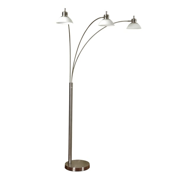StyleCraft Brushed Steel Floor Lamp - Opal Glass Shade