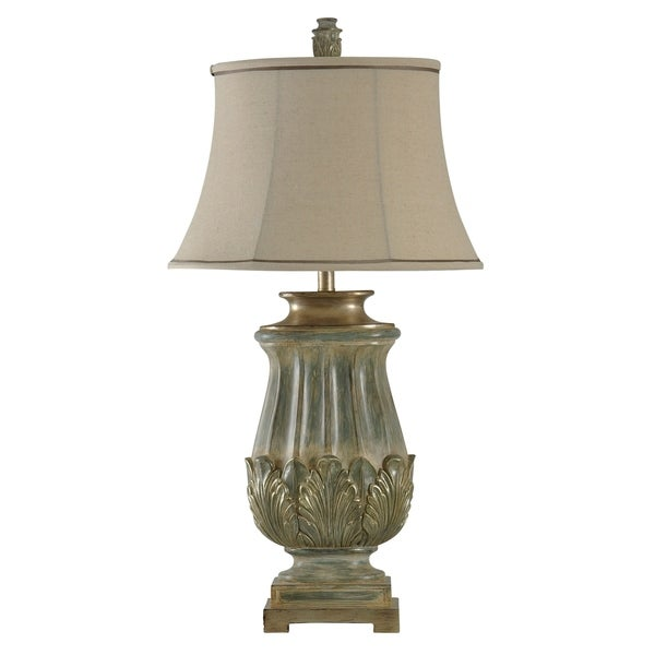 StyleCraft Sage And Gold Table Lamp - Gold Softback Fabric Shade