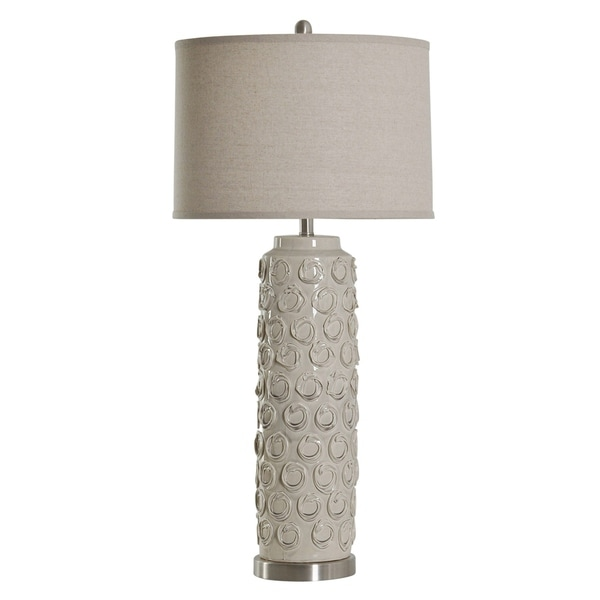 StyleCraft Ceramic Bella Cream Table Lamp - Taupe Hardback Fabric Shade