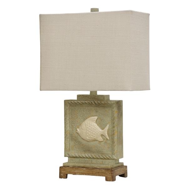 StyleCraft Beige Table Lamp - White Hardback Fabric Shade