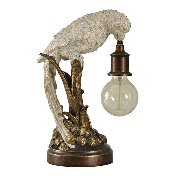 Poly Parrot Bronze and White Accent Table Lamp