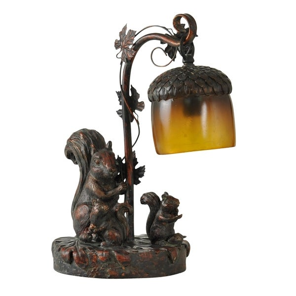Dark Bronze Table Lamp   Amber Glass Shade