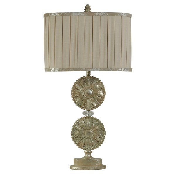 StyleCraft Hand Carved Disc Beige Table Lamp - Beige Pleated Shade