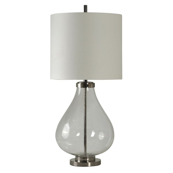 StyleCraft Evanston Clear Glass and Chrome Table Lamp - White Hardback Fabric Shade