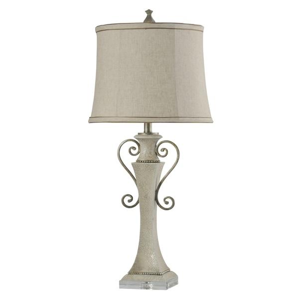 StyleCraft Neihart White Table Lamp - Taupe Softback Fabric Shade