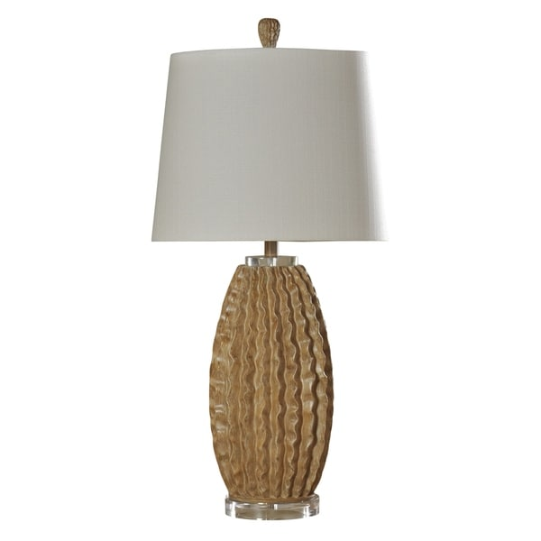 Stylecraft Accent Washed Pine Table Lamp White Hardback Fabric