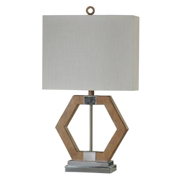 Karachi Chrome and Brown Table Lamp - White Hardback Fabric Shade